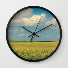 Prairie Summer; big blue skies and golden canola fields  Wall Clock