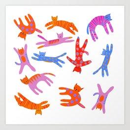 Cartwheel kitties Art Print
