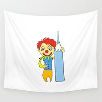 clown Wall Tapestries featuring Clown by Ercan Sert