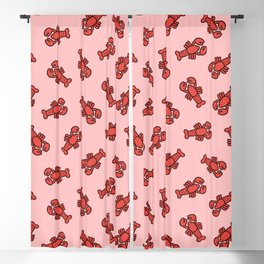 Lobster Pattern on Light Pink Blackout Curtain