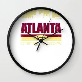 Atlanta, Geogia Gifts  Distressed Coordinates Wall Clock