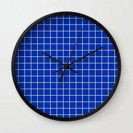 International Klein Blue - blue color - White Lines Grid Pattern Wall Clock