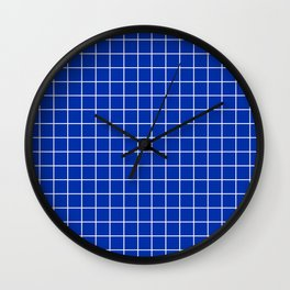 International Klein Blue - blue color - White Lines Grid Pattern Wall Clock