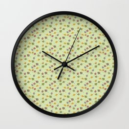 Small Colorado Aspen Tree Leaves Hand-painted Watercolors in Golden Autumn Shades on Fern Green Wall Clock