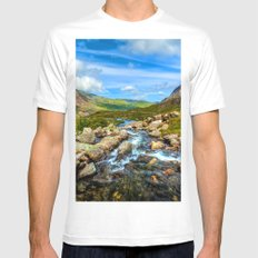 Stream of Water White MEDIUM Mens Fitted Tee