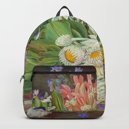 Medley of Wild Summer Mountain Flowers still life painting Backpack