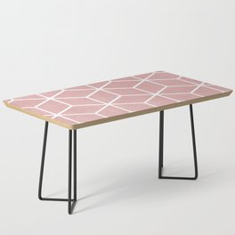 Blush Pink and White - Geometric Textured Cube Design Coffee Table