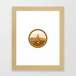 Gold Chapel Dome of Les Invalides Paris France Woodcut Framed Art Print