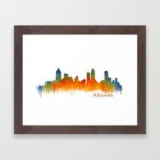 Atlanta City Skyline Hq v2 Framed Art Print