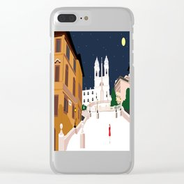 Spanish Steps in Snowy Rome Clear iPhone Case