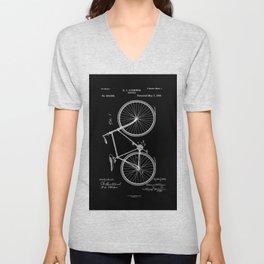 Vintage Bicycle Patent Black Unisex V-Neck