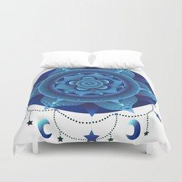 Blue monochromatic mandala dream catcher Duvet Cover