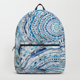 Blue & Gray Mandala Marbling Backpack