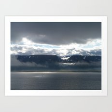 Sun on an Icelandic Fjord Art Print