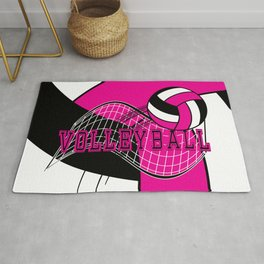 Volleyball Sport Game - Net - Hot Pink Rug