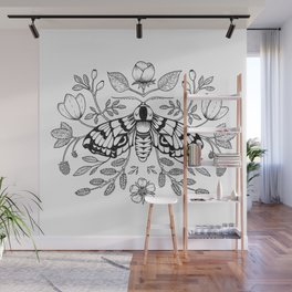 Moth with Berries and Rosehip Wall Mural