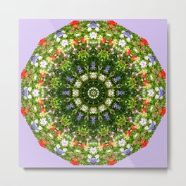 Nature Flower Mandala, Wildflowers, Floral mandala-style Metal Print