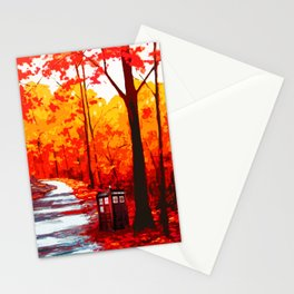 Tardis Art Autumn Stationery Cards
