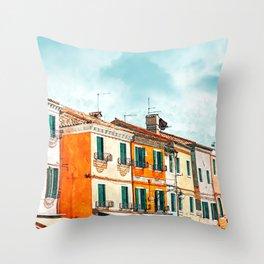 Burano Island #painting #digitalart #travel Throw Pillow