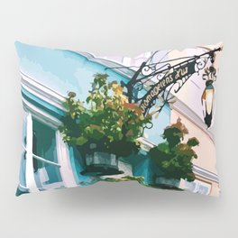 Digital Illustration of Plants and Light Mounted onto a Colourful Danish House in Nyhavn, Copenhagen Pillow Sham