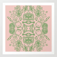Modern Icons - Tattoo - Day of the Dead - Pink and Green Art Print