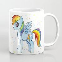 mlp Mugs featuring Rainbow Dash  by Olechka
