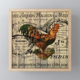 vintage typography barn wood shabby french country poulet chicken rooster Framed Mini Art Print