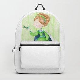 Green little princess with a bird | colored pencils children art Backpack