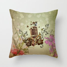 Music, microphone with flowers and cute ittle bird Throw Pillow