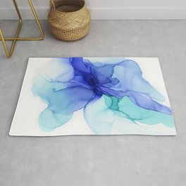 Blue Floral Abstract Ink Rug
