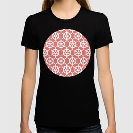 Ship's Wheel Pattern over Red T-shirt