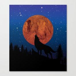 Wolf night Canvas Print