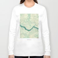 seoul Long Sleeve T-shirts featuring Seoul Map Blue Vintage by City Art Posters