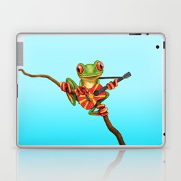 Tree Frog Playing Acoustic Guitar with Flag of Macedonia Laptop & iPad Skin
