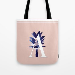 Blue China Palms Letter 'A' Tote Bag
