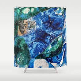 Baby Manatee taking a swim, Tiny World Environmental.jpg Shower Curtain