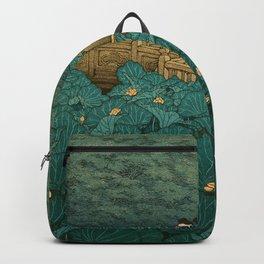 Vintage Japanese Woodblock Print Kawase Hasui Japanese Children Lotus Flowers Garden Wooden Bridge Backpack