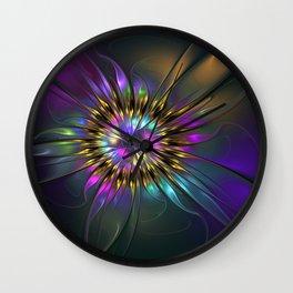 Fantasy Flower Fractal Wall Clock