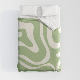 Modern Liquid Swirl Abstract Pattern in Light Sage Green and Cream Duvet Cover