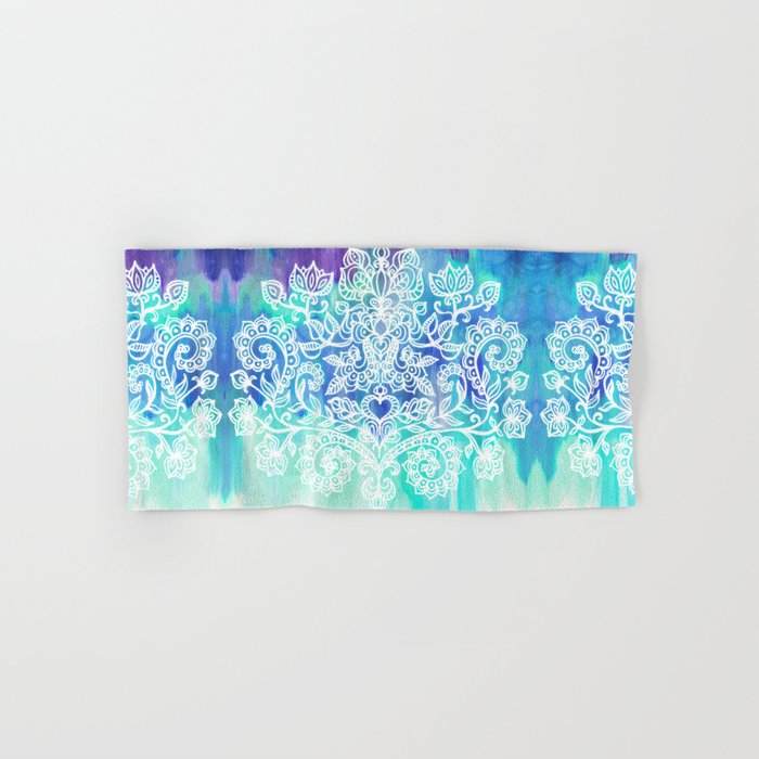 Indigo & Aqua Abstract - doodle painting Hand & Bath Towel
