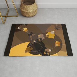 halsey - abstract warm earth tones brown butter yellow tan and black Rug