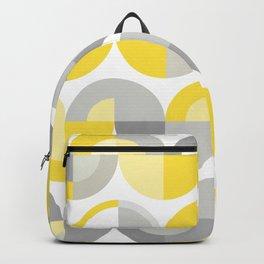 Wavy Bauhaus Yellow and Grey Pattern Backpack