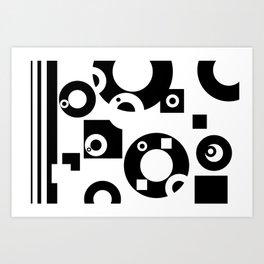 Black& White Rings Rectangle Art Print