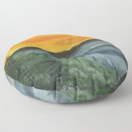 What lies beyond the valley Floor Pillow