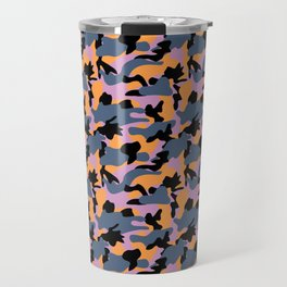 Purple, orange, blue and black Camouflage repeat Print pattern for fashion and home decor by Arcos P Travel Mug
