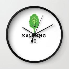 Kale-ing It Kale Art for Vegans Vegetarians Light Wall Clock