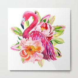 Pink Flamingo with peonies Metal Print