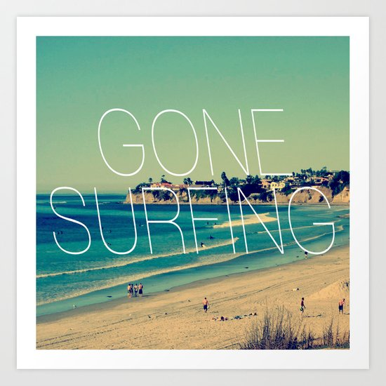 Gone Surfing Vintage California Beach Art Print