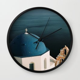 Dome Architecture in Santorini with Deep Blue Sea Wall Clock