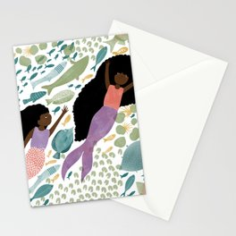 Mermaids and Fish in the Ocean Stationery Cards